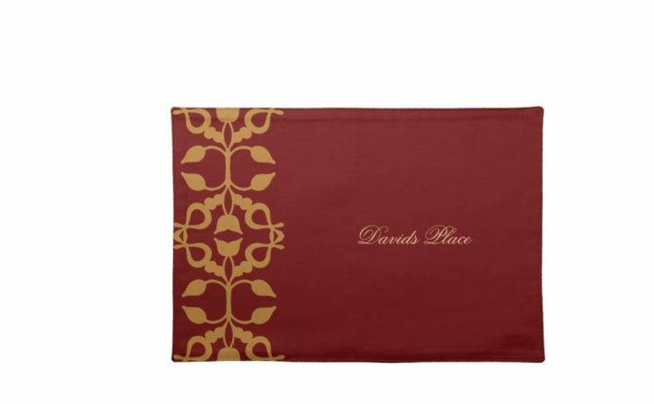 Personalised Gold Scroll Placemats Zazzle