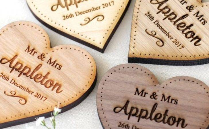 Personalised Rustic Wedding Table Place Setting Name Hearts
