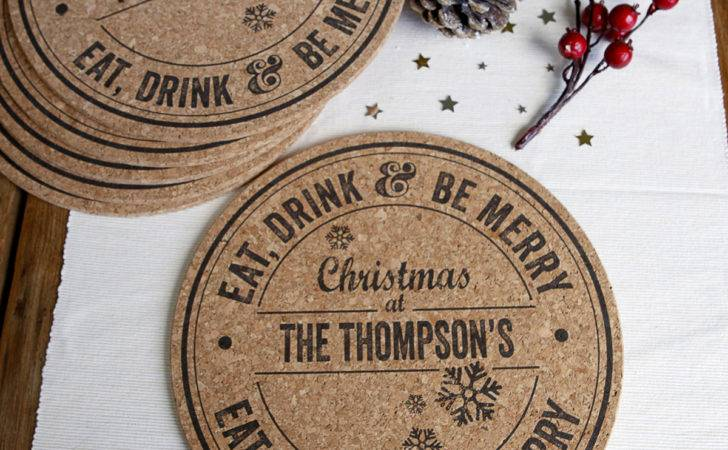 Personalised Set Cork Christmas Placemats