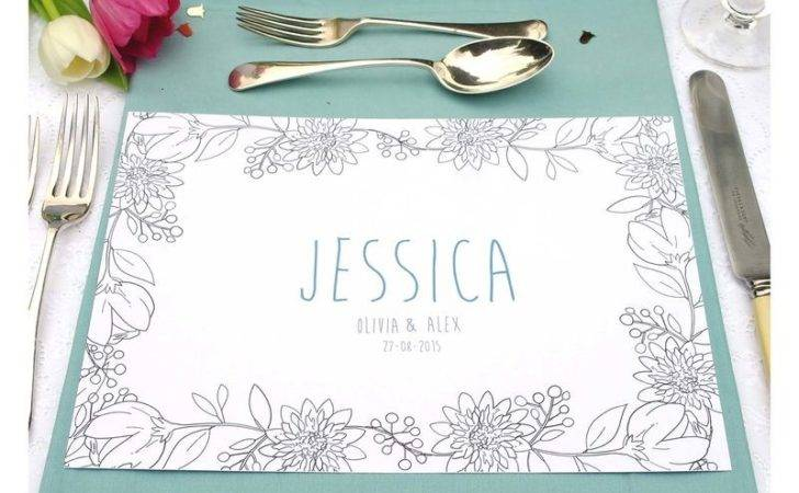 Personalised Wedding Colour Table Place Mats