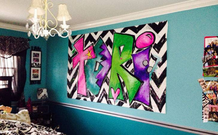 Personalized Painting Tween Girls Room Large Canvas Art