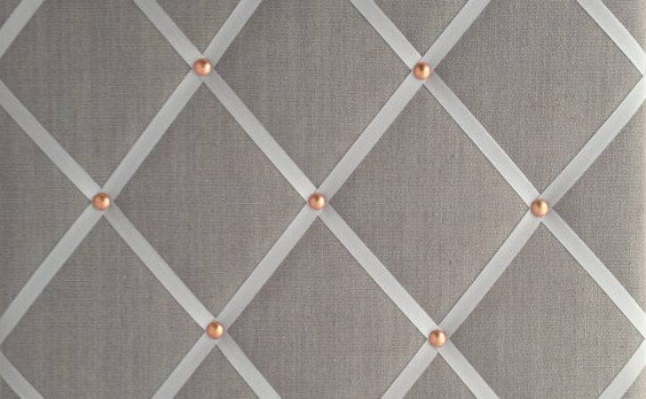 Pin Board Notice Grey Linen Fabric Copper