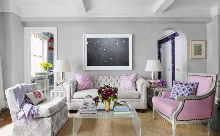 Pink Gray Living Room Contemporary