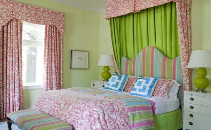 Pink Green Girl Bedding Contemporary Room