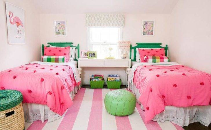 Pink Green Girls Bedroom Rugby Striped Rug