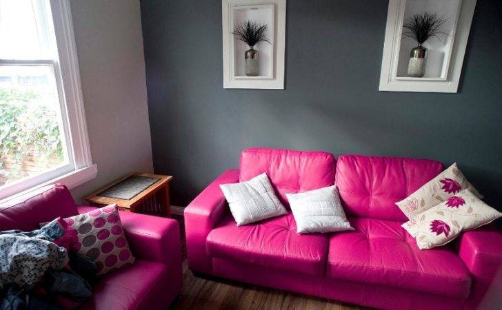 Pink Grey Living Room