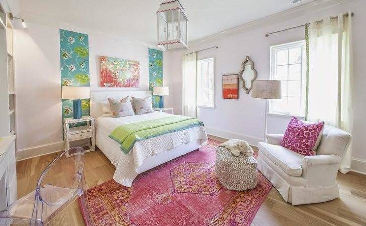 Pink Orange Rug Contemporary Girl Room Lucy
