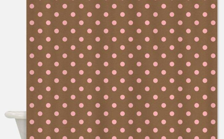 Pink Polka Dot Shower Curtains Fabric