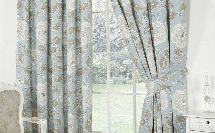 Poppy Lined Curtains Duckegg Blue Delivery