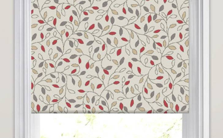 Pretty Leaves Patterned Roller Blinds Red Grey Beige