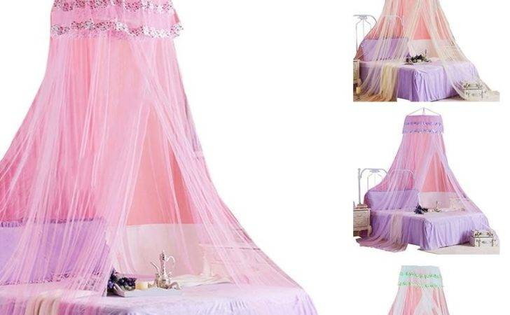 Princess Girl Round Canopy Lace Curtain Dome Bed Netting
