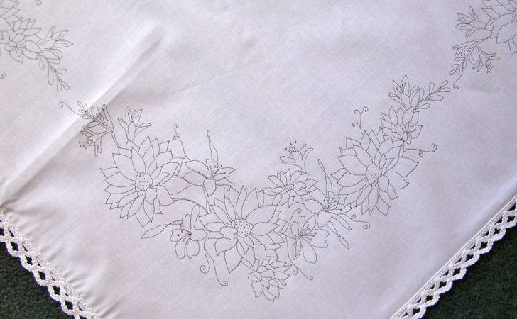 Printed Tablecloth Embroider Lace Edge Bouquet