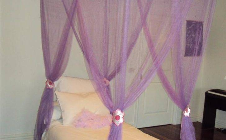 Purple Flower Princess Mosquito Poster Bed Canopy