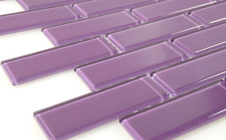 Purple Glass Uniform Brick Tile Glossy Blg