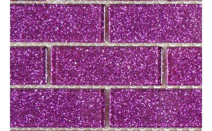 Purple Glass Uniform Brick Tile Glossy Blgd