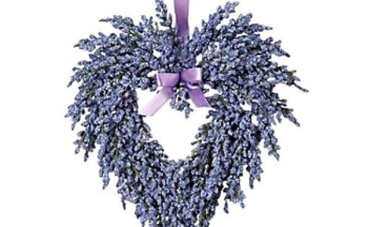 Purple Hanging Heart Shap Wreath Lavender Ribbon Door Wall