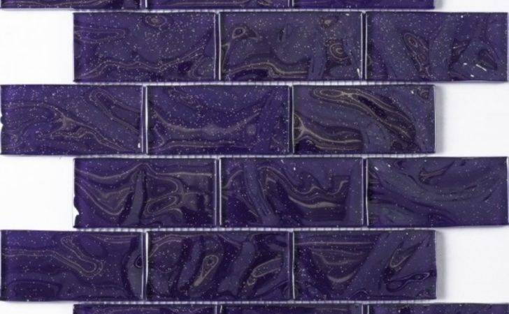 Purple Sparkle Brick Glass Mosaic Tile