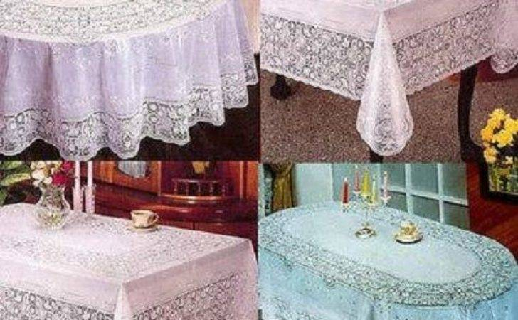 Pvc Vinyl White Embossed Lace Tablecloth Table Cover