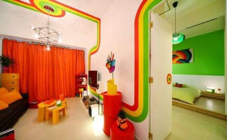 Radiant Striped Abodes Rainbow Room Design Color Bedroom