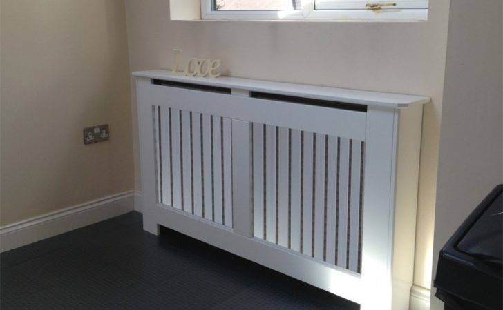Radiator Covers White Vertical Grille