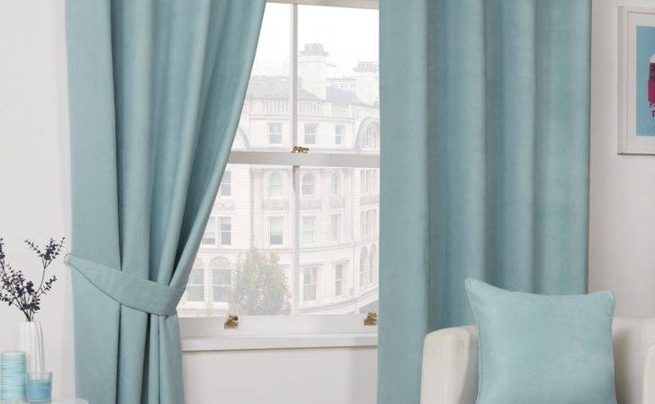 Ready Made Duck Egg Blue Faux Suede Lined Soft Curtains