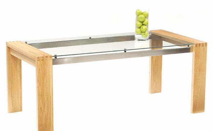 Rectangle Glass Table Combined Light Brown Wooden