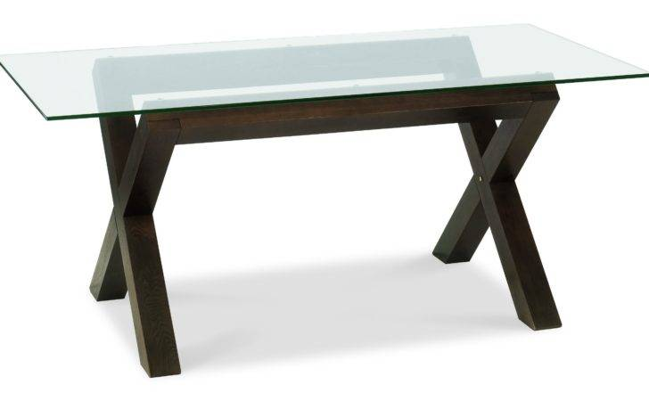Rectangle Glass Top Table Crossed Black Wooden Legs