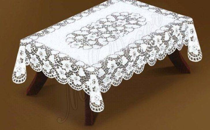Rectangular Lace Large White Cream Tablecloth