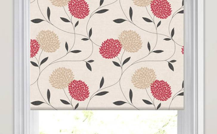 Red Beige Cream Large Flower Heads Patterned Roller Blinds