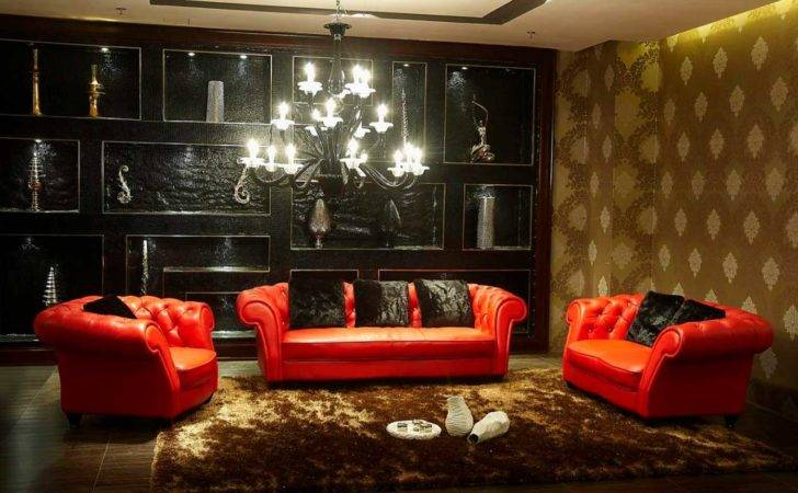 Red Black Gold Living Room Contemporary