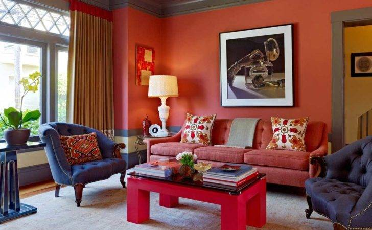 Red Blue Living Room Decor Inspiration Ideas Home