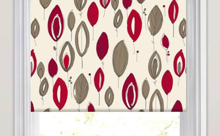 Red Burgundy Brown Contemporary Floral Patterned Roller