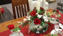 Red Christmas Table Centrepiece
