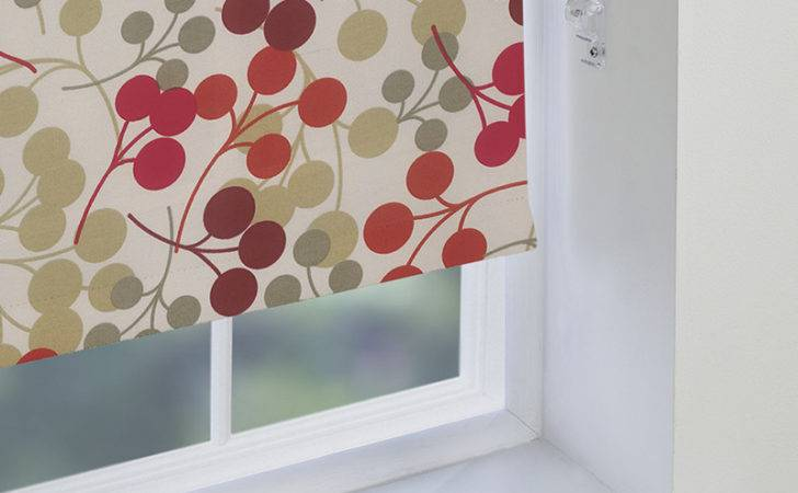 Red Patterned Roller Blinds Made Measure Direct