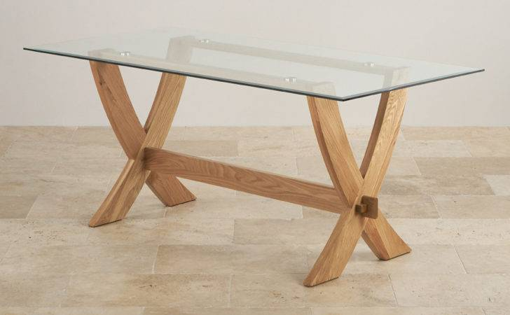 Reflection Crossed Leg Dining Table Glass Top