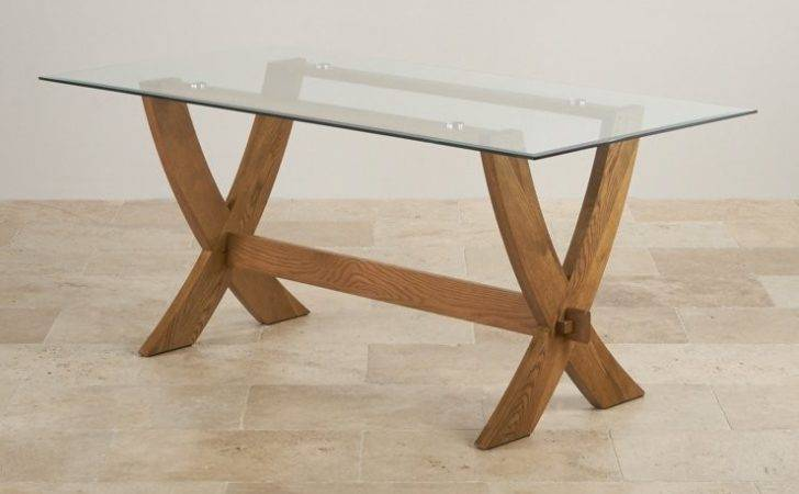 Reflection Glass Top Dining Table Solid Oak Crossed Legs