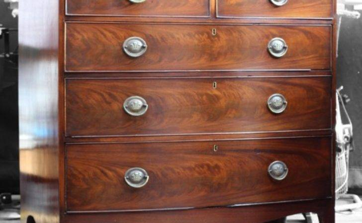 Restored Flame Cut Veneered Mahogany Chest Drawers
