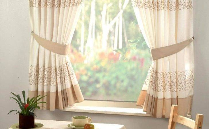Retro Natural Cream Embroidered Kitchen Curtain Curtains