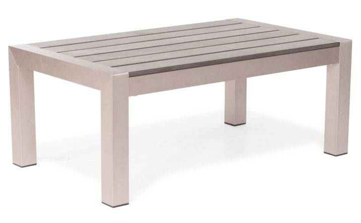 Rivera Modern Brushed Aluminum Faux Wood Outdoor