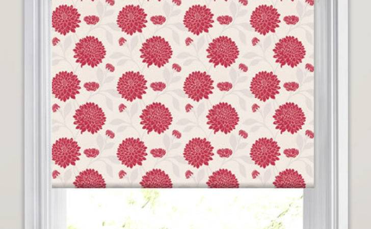 Rouge Red White Contemporary Flowers Patterned Roller Blinds