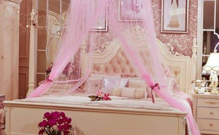 Round Lace Dome Princess Style Polyester Bed