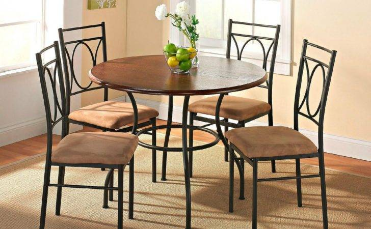Round Metal Dining Table Wooden Top Design Small