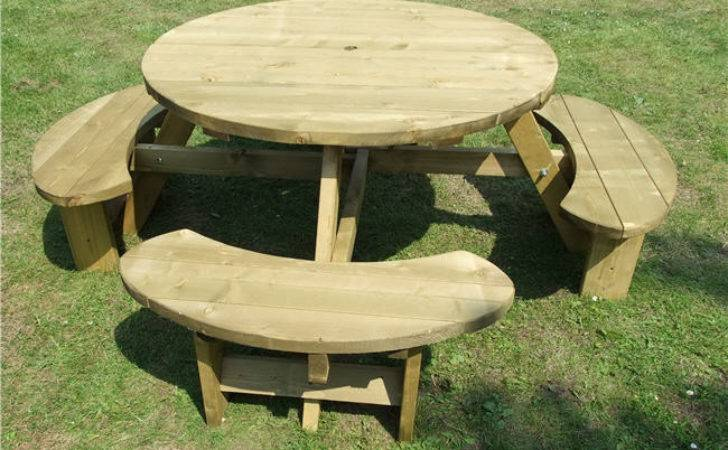 Round Picnic Table Heavy Duty Commercial Pub Type Bench