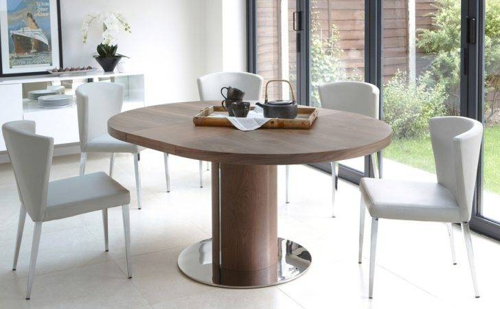 Round Walnut Extending Dining Table Pedestal Base