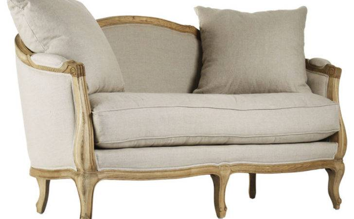 Rue Bac French Country Natural Linen Feather Settee