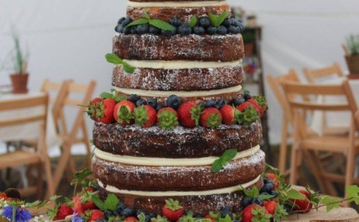 Rustic Naked Wedding Cake Great British Bake Off