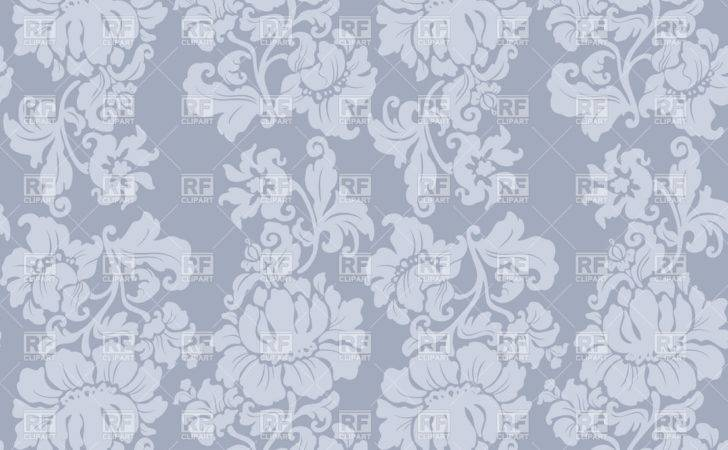 Seamless Grey Floral Victorian Vector Clipart