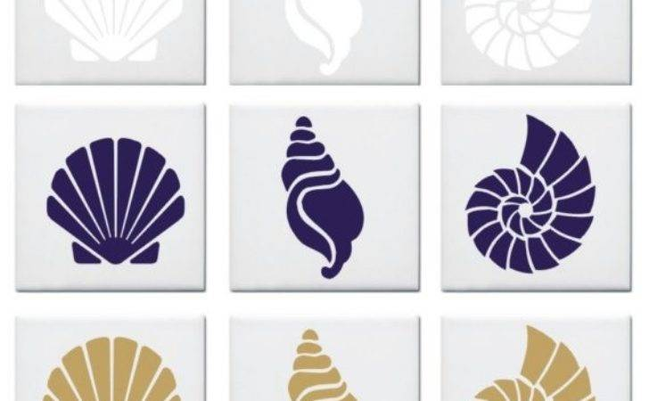 Seashell Design Tile Decals Stickers Nautical