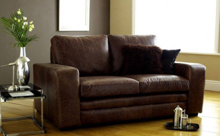 Seater Sofa Bed Brown Modern Leather Sofabed