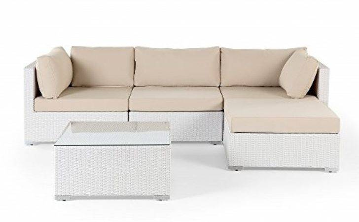Sectional Outdoor Sofa Set Modern White Wicker Furniture